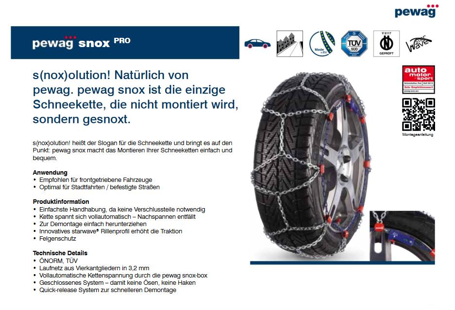 pewag SCHNEEKETTEN F/ÜR Fahrzeuge SNOX VOLLAUTOMATISCH GR 560 GR/Ö/ßE 215//55 R17